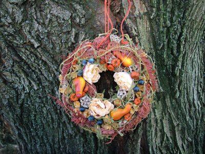 őszi koszorú mini tökökkel