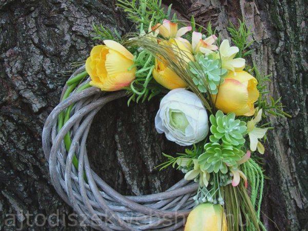Ajtódísz tavaszra sárga tulipános