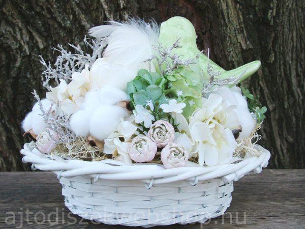 Tavaszi asztali dísz kerámia madárral