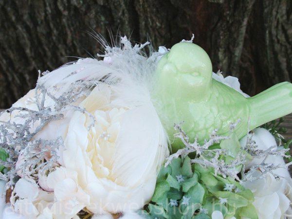 Zöld kerámia madaras asztaldisz