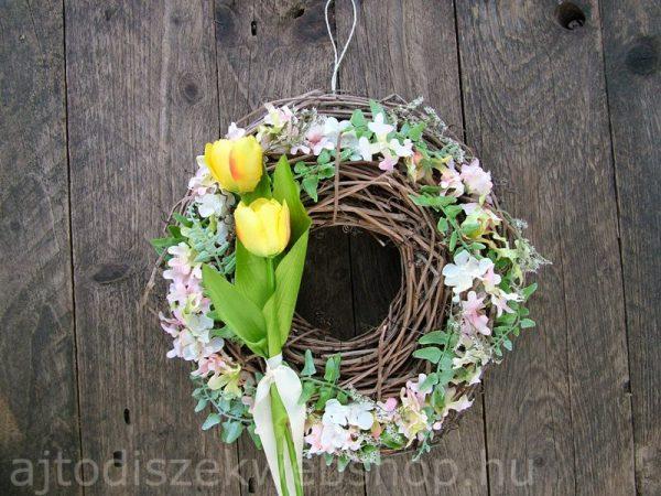 Tavaszi ajtódísz koszorú sárga tulipános