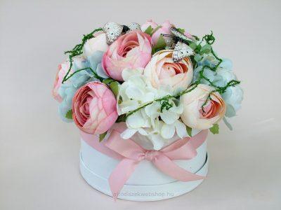 Selyemvirág asztaldísz virágbox lepkékkel
